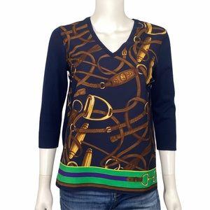 Lauren Ralph Lauren Equestrian Silk Sweater SZ XS